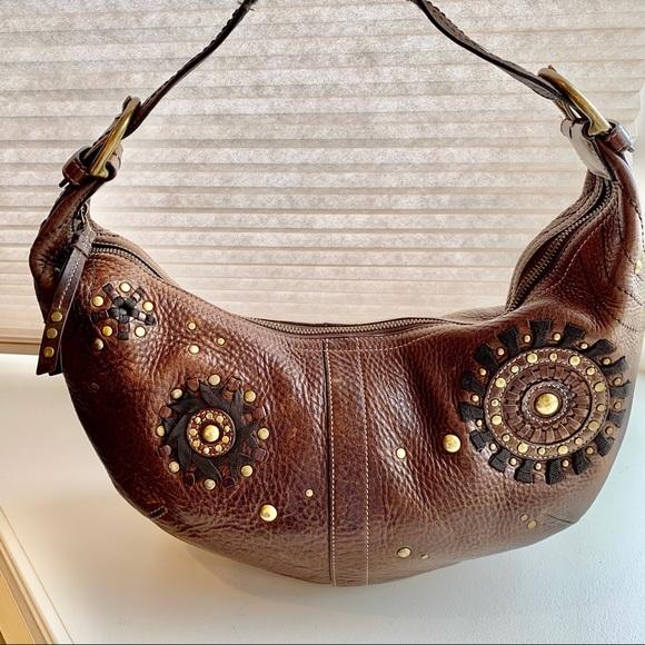 Coach Mia hobo studded pebbled leather bag
